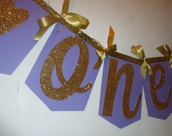 1st Birthday Highchair Banner / purple and gold glitter / Princess Sophia / hearts / One Banner / Pink, White, Purple