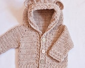 Crochet Cardigan PATTERN (pdf file) - Bear Hooded Cardigan (sizes baby up to 8 years) (Instant download)