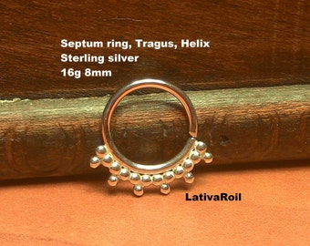 Septum ring,Nose ring,Tragus ring,Helix ring,Cartilage ring,Sterling silver,14g,16g,18g,20g,22g,Handcrafted