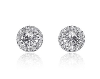 0.47 Carat Round Halo Diamond Stud Earrings 14K White Gold