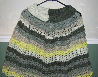 Hand Crochet Poncho and Newsboy Hat