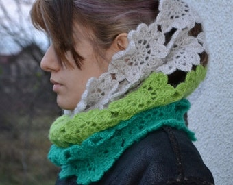 infinity circle scarf , cowl , womens lace crochet cowl,