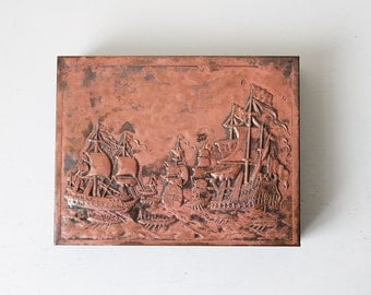 Copper Relief Ship Nautical Motif, Sailing Etched Copper Metal Box Wood