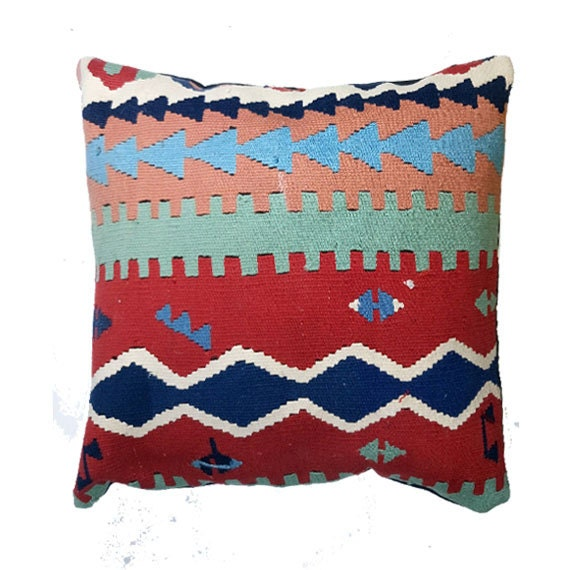 Turkish Kilim Kelim Rug Pillow Cover 17 X 17 Kilim