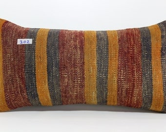 12x24 inches kilim pillow cover handwoven vintage Turkish kilim pillow lumbar kilim pillow cushion cover decorative pillows SP3060-302