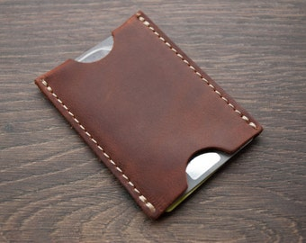 Leather Card HolderWallet, Leather Sleeve Card Wallet, Business Card Holder, Groomsmen Gift, Valentine's Day sale - 30%