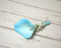 Blue Real Touch Calla Lily Groom's Boutonniere Groomsman Boutonnieres Starfish Boutonnieres
