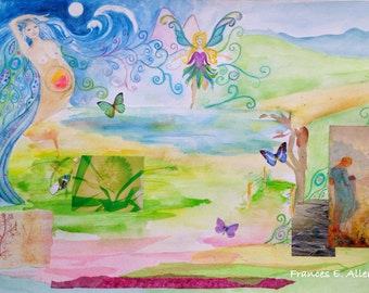 Goddess Earth Magic - Original Inspired Watercolour and Collaged Painting
