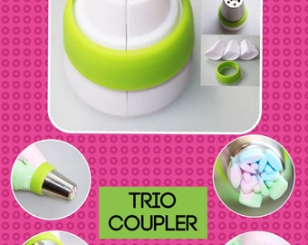 Buttercream Coupler  piping coupler trio piping coupler three colour piping icing  nozzles tips  free  shipping    buttercream frosting