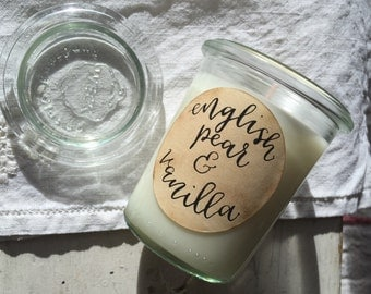 English pear and Vanilla fragrance oil eco soya wax candle  in a 160 ml glass weck jar