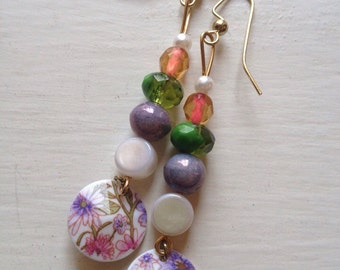 Bead and flower earrings