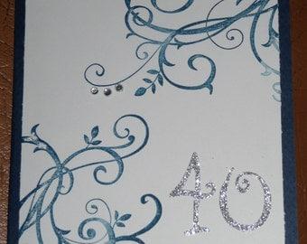 Swirl Navy Blue 40th Birthday Card