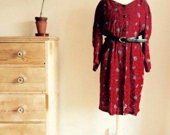 Burgandy Red Floral Dress