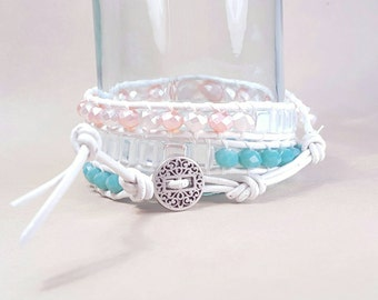 Pink, AB, and turquoise Czech glass leather wrap bracelet