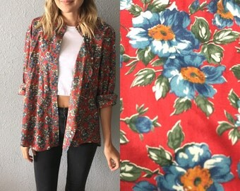 1980's Floral Liberty Of London Button Down Grunge Blouse