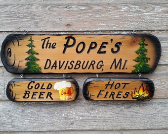 "Personalized Campsite Signs, Camping Signs, Custom Cabin Signs,  Pine Tree Signs, 6""×24"" 38.00 Add ons 3 1/2""×10"" 12.00 each sold separately"