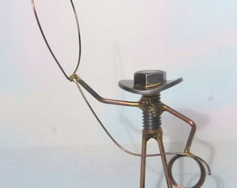 Welded NUT and BOLT Cowboy with his LARIAT