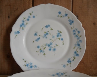 "Vintage 1970s Arcopal 'Veronica' 9"" Opal Glass Dinner Plates - Set of Three - Forget-Me-Not Design"
