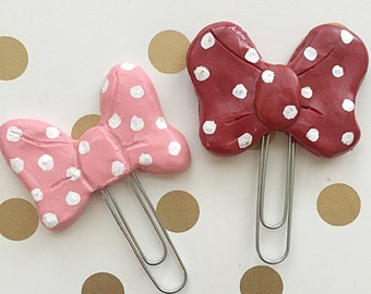Minnie Mouse Inspired Bow Planner Paper Clip Bookmark