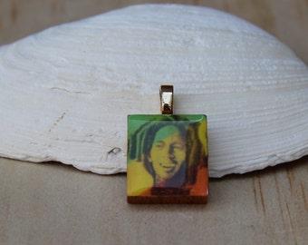 Bob Marley square pendant, Jamaica color necklace