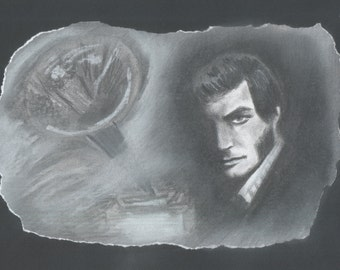 Original artwork:  drawing of Quentin Collins from Dark Shadows