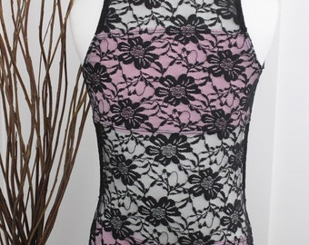 Black Lace and Ballet Pink Halter Leotard with Open Midriff Size 8