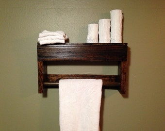 Reclaimed Wood Towel Rack and Shelf - Single Towel Rack