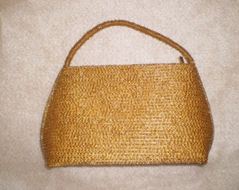 Vintage Gold Beaded and Satin Evening Clutch Purse by Bilox Terner-1940's
