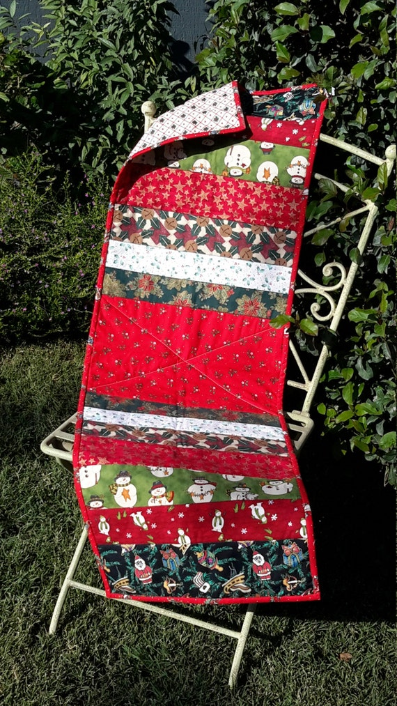 Runner Christmas Quilted table Table   reversible  Reversible runner christmas