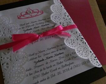 Custom Handmade Quinceanera 15th Birthday Invitation with Envelope