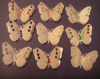3 diamante set velum 3D  butterflies wedding craft
