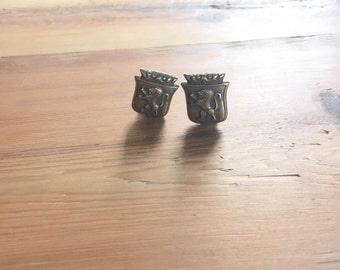 Vintage Brass Lion Clip-On Earrings