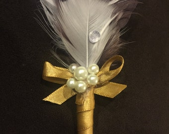 Feather Boutonniere w/ Pearls & Embellishments, 20's Boutonniere, Great Gatsby for Groom or Groomsmen