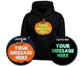 Your Text Personalised Pumpkin GLOW IN DARK Kids Unisex Halloween Hoodie (6 Colours)
