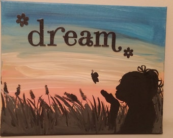 Girl silhouette painting in acrylic on stretched canvas 11x14