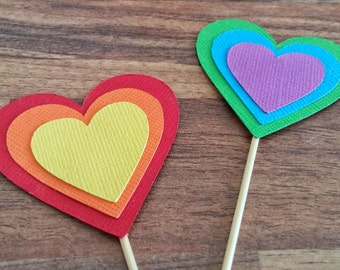 Rainbow heart cupcake toppers, 12 Multi coloured cupcake toppers, first birthday, Kids Party decoration, Rainbow Party Theme