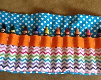 Crayon Roll up, Crayon Holder, Crayon Party Favor, Crayon Bag