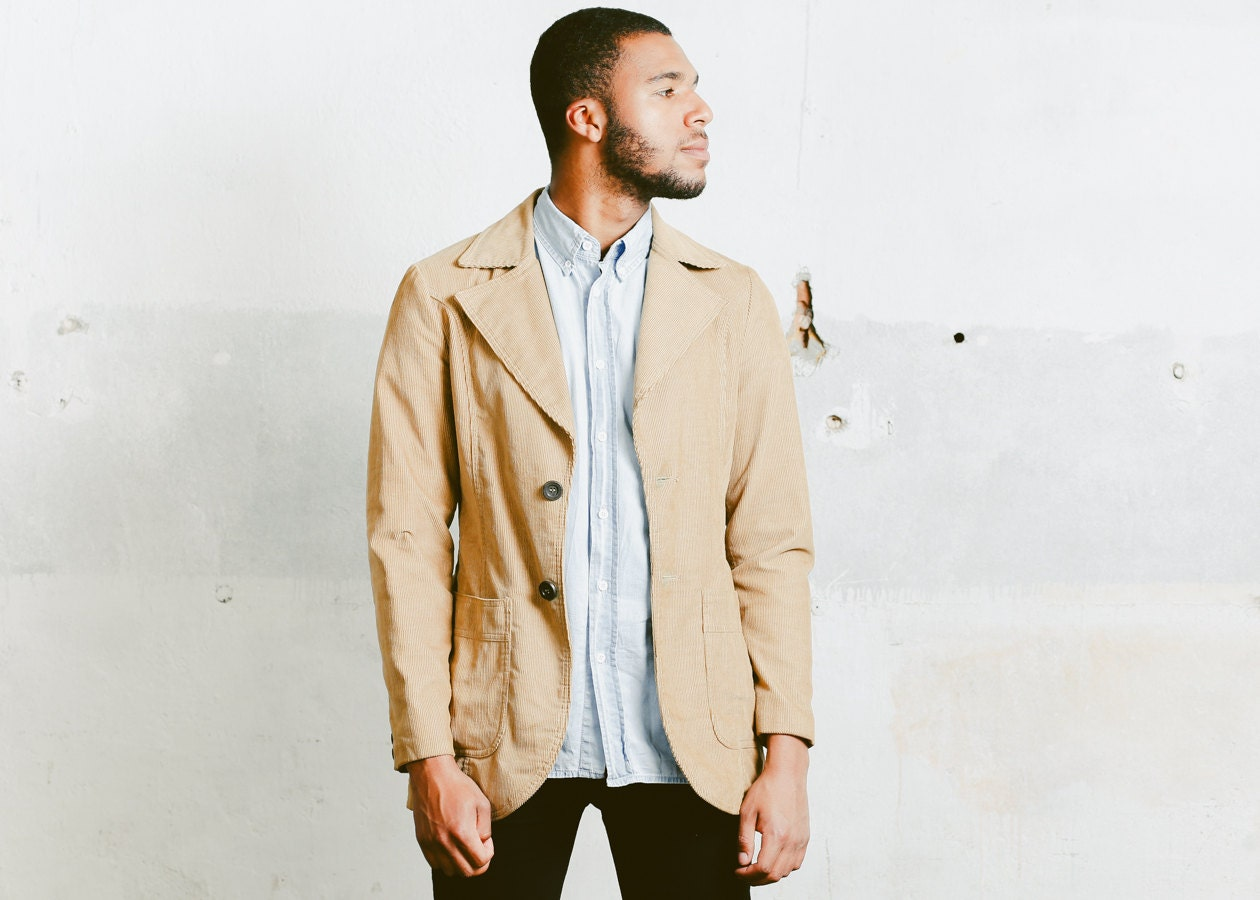 Mens Vintage 70s Clothing Slim Fit Sport Coat Classic Beige Jacket Smart Casual Outfit Boyfriend Wear Size Medium