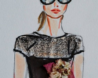 "Fashion Illustration Original 11""x14"""