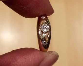 14K Yellow Gold Diamond Ring, Size 4