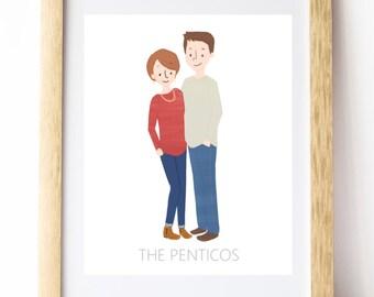 Couple Portrait -- Custom Illustration -- Digital File