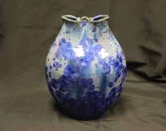 Blue Crystalline Decorative Vase