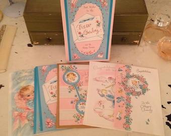 15 Vintage Congratulatory Baby Cards in Box