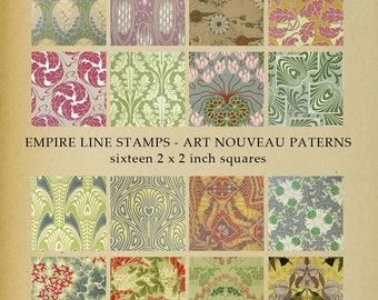 Colourful Art Nouveau Pattern 2 inch square Artworks for Pendants Memory Glass Downloadable Printable Scrapbook Paper Crafts