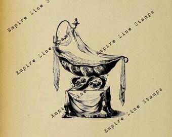 Royal Baby Crib - Digital Download Image Transfer Pillow Burlap Iron-On Teeshirt Fabric Scrapbooking Digital Stamp
