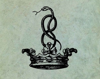 Entwined Hissing Snake in a Crown - Antique Style Clear Stamp
