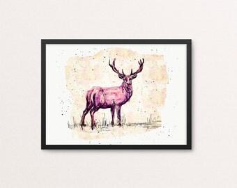 Pink deer art print / Deer / Illustration / Wall art / Large sizes