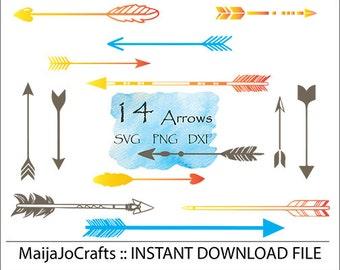 Arrows svg cutting file dxf file instant download silhouette cameo cricut cut file, png Clip art, Vector file Arrow set PNG Cricut designs