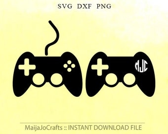Game controller SVG, game controller monogram svg digital download  dxf, png Vinyl Files, Cricut, Silhouette Cut Files vector file, Boy svg