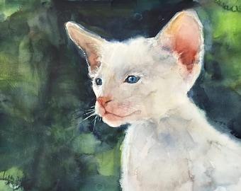 Custom pet portrait, original watercolor painting, cat painting, dog painting
